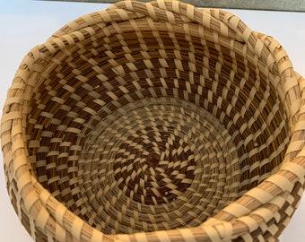 Vintage Sweetgrass Basket with Braided Fishbowl Basket- Med 8 x 4 Sweet Grass Gullah Small - Medium