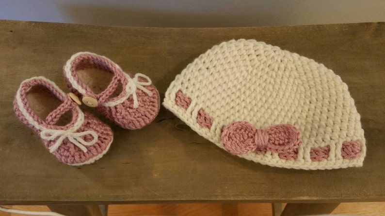 Ribbons and Bows hat and Mary Janes-can be custom made in a variety of colors and sizes premie-12 months
