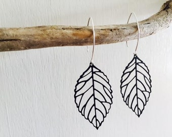 Black Leaf Earrings, Large Earrings , Boho, Modern, Sterling Silver Earwires, Long hooks, thehappylittlebeader