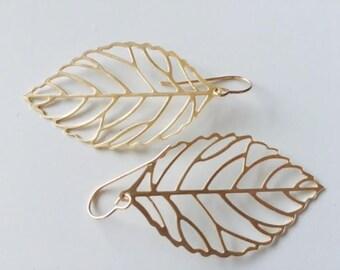 Large Gold Leaf Earrings, Boho, Modern, 14K Gold Filled Earwires, Short hooks, thehappylittlebeader