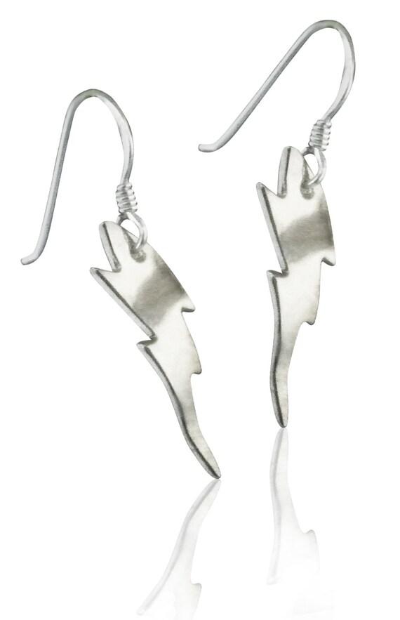 Sterling Silver Lightning Bolt Earrings Ss009 Etsy