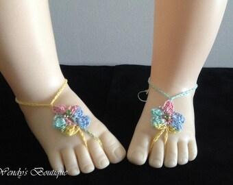 Baby Birthstone Barefoot Sandals -Pair - August