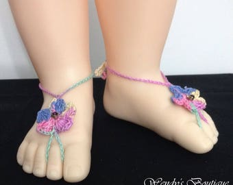 Baby Birthstone Barefoot Sandals -Pair (February)