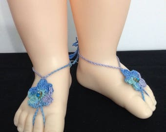Baby Birthstone Barefoot Sandals -Pair - December
