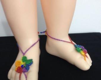 Baby Birthstone Barefoot Sandals -Pair - September
