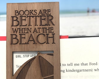 Wooden Beach Bookmark. Reader Gift. Book Accessories. Beach Lover Gift. Vacation Reads. Easter Basket. Beach Themed Favor. Gifts Under 10