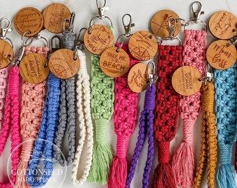Macrame Keychain Wristlet. Colorful Macrame Key Chain. Bogg Bag Charm. Personalized Bag Tag. Braided Key Fob. Lobster Claw Wrist Lanyard