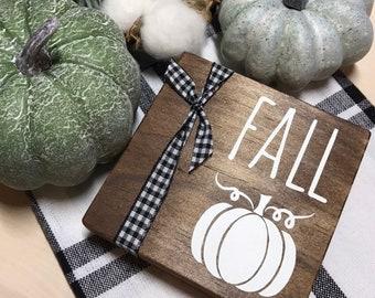 Mini Signs for Fall Tiered Trays. Rae Dunn Inspired. Shelf Wood Sign. Farmhouse Fall Sign. Buffalo Check Kitchen Tray Decor. Buffalo Plaid.