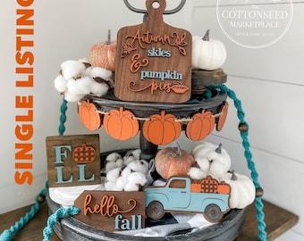 Hello Fall Tiered Tray Pieces. Orange and Teal Pumpkin Decor. Buffalo Plaid Pumpkin Decoration. Autumn Tiered Tray Bundle. Pumpkin Truck.