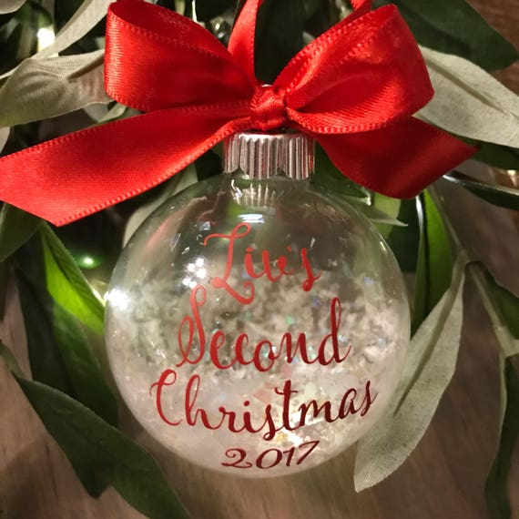 Glass Ball Ornament Personalized Gift Baby First Christmas Etsy