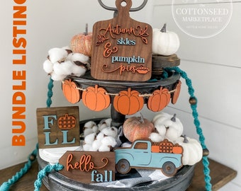 Hello Fall Tiered Tray Set. Orange and Teal Pumpkin Decor. Buffalo Plaid Pumpkin Decoration. Autumn Tiered Tray Bundle. Pumpkin Truck.