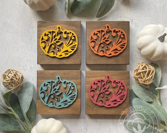 3D Cut-Out Mini Signs for Fall. Pumpkin Signs for Tiered Trays. Shelf Wood Sign. Farmhouse Fall Wood Blocks. Teal Pumpkins Wood Signs.