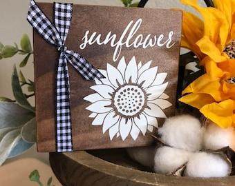 Tiered Tray Fall Decor. Mini Sunflower Signs for Trays. Shelf Sitter Wood Sign. Farmhouse Fall Sign. Buffalo Check Tray Decor. Buffalo Plaid