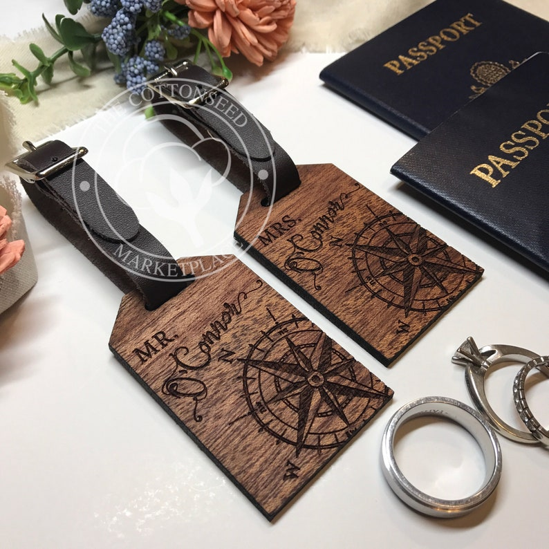 Mr And Mrs Luggage Tags Unique Wedding Gift For Couple Set Etsy