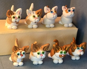 Orange and white Kitten miniatures.  Your choice of one.