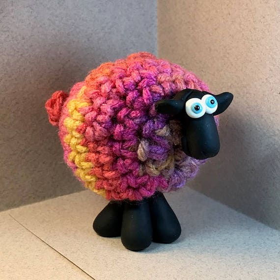 Colorful BRIGHT Whimsical Sheep Ornament / Figurines. TEN | Etsy