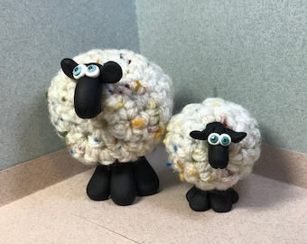 Whimsical  MINI Sheep Ornaments, shown with regular sized sheep for comparison. Your choice of one.