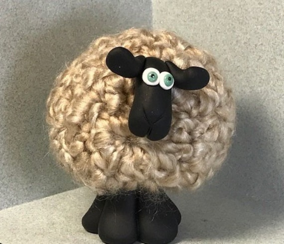 Your choice of one. EIGHT Assorted Colors TAN Whimsical Sheep Ornament  Figurines