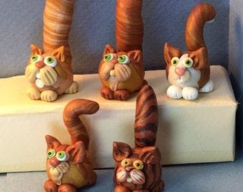 Dark orange cat miniatures, HeadBody style.  Your choice of one.