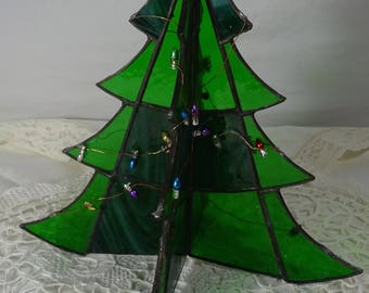stain glass christmas tree with faux lights vintage table top green glass 85 inch tall x 65 inch wide