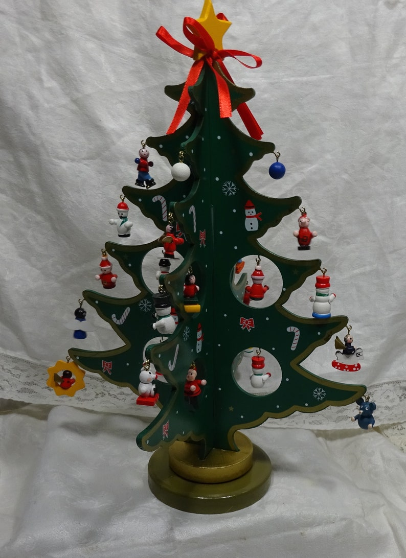 Green Painted Wooden Christmas Tree With 28 Mini Wood Ornaments Yellow Wood Star Vintage 14 Inch Tall X 10 Inch Wide