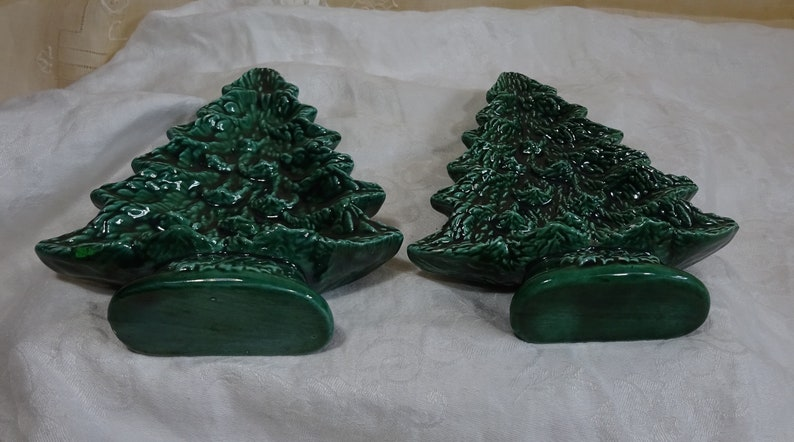 Pair Of Ceramic Christmas Trees Single Trees Stand Up Design Retro Fun Vintage Christmas Marked 1988 No Chips Or Cracks