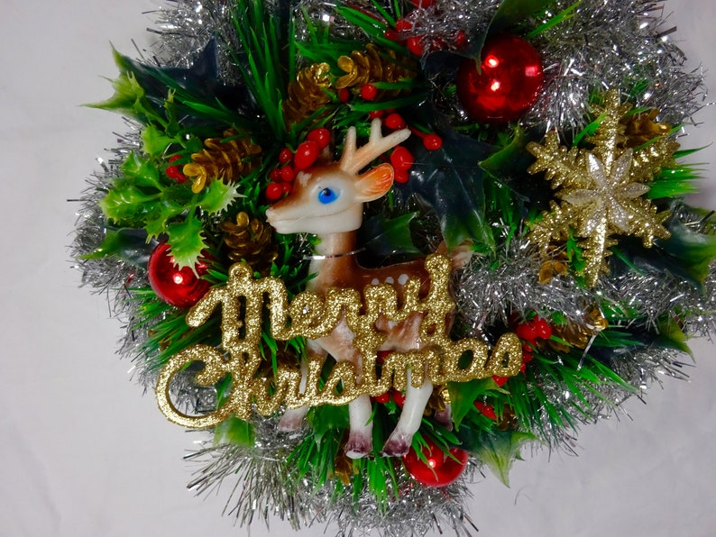 9 Round Christmas Wreath made with Vintage Christmas Ornaments Vintage Star and Reindeer Plastic Holly and Berry Wreath Vintage Tinsel