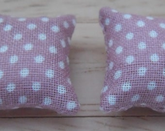 1//12th Scale Dolls House Printed Fabric Cushions Spots /& Flowers Design in Pink and White
