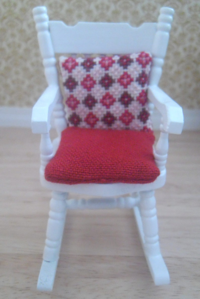 1/12th Scale Hand Embroidered Geometric Design Cushion & Seat image 0