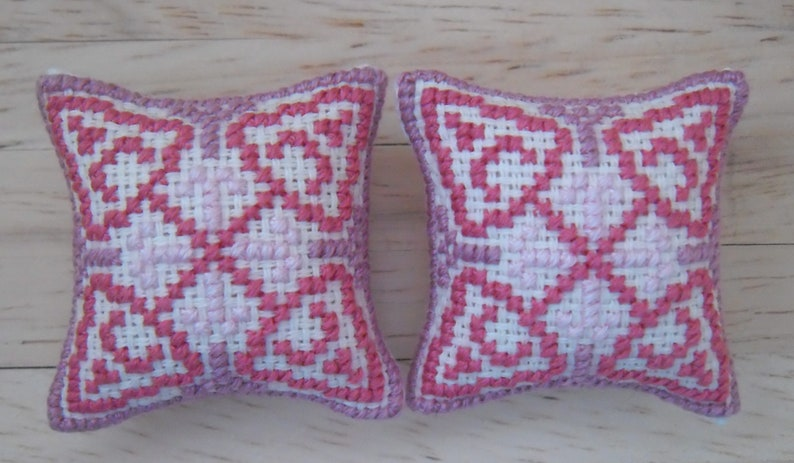 1/12th scale Dolls House Cross Stitched Geometric Design image 0