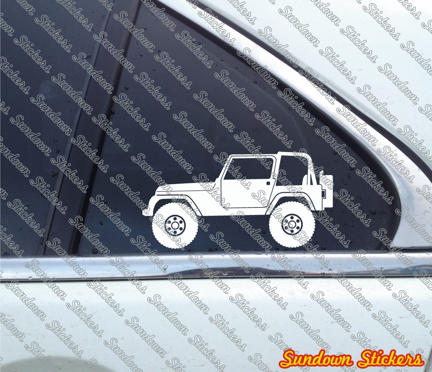 2x Lifted 4x4 Outline Stickers For Jeep Wrangler Yj Etsy