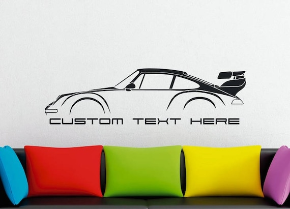Large custom car silhouette wall sticker for porsche 911
