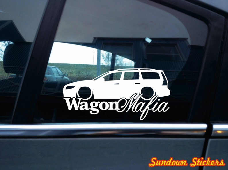 Low WAGON MAFIA car sticker - for Volvo v70, 3rd gen T5 Turbo station wagon  (version 2)