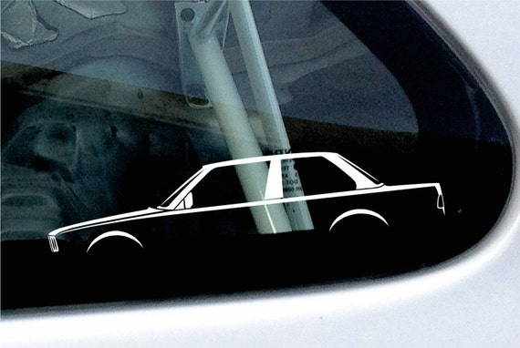 for BMW E30 convertible 3-series 2X Lowered car outline stickers
