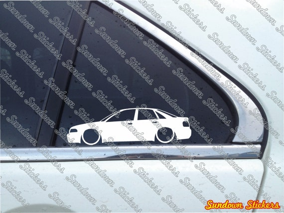 2X Low car outline stickers for Audi A4 (b5) S4 sedan