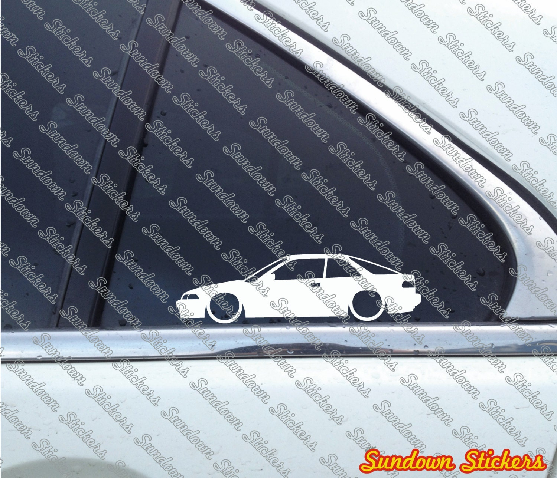 2X Low Car Outline Stickers For Acura Integra GS-R DB2 No