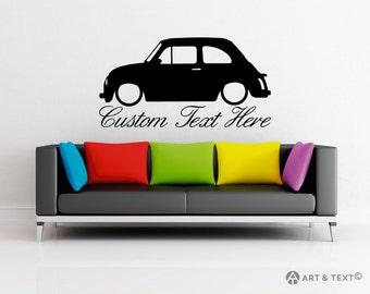 Large Custom personalized text -  Low Classic Fiat 500 car wall decor vinyl sticker