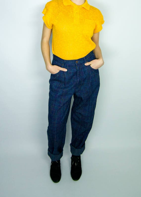 Vintage 1980s NEW Plaid Cherokee Jeans / High Wais