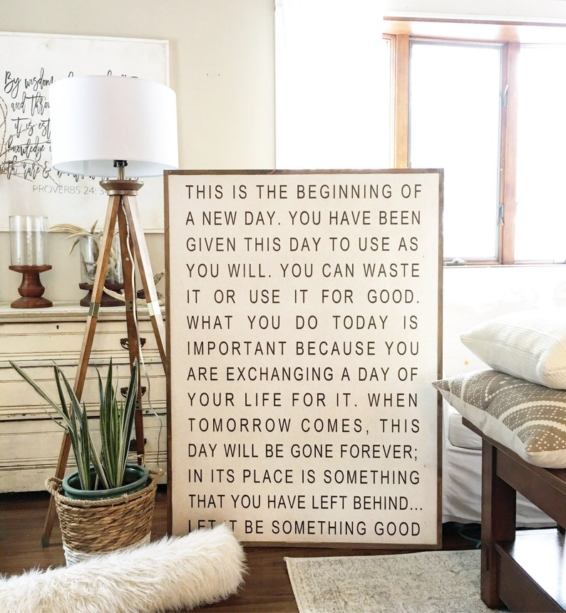 Large Wall Art Home Decor Signs Wall Decor Wall Hanging Quotes To Live By This Is The Beginning Of A New Day Framed Wood Sign