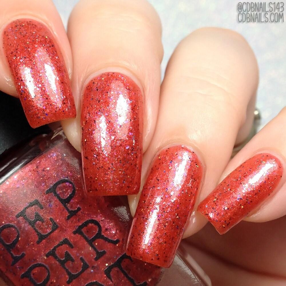 Cherry Red Nail Polish Holo Glitter Flakie Glitter Bath Beauty Pepper Pot  Polish Gift Under 15 Gift For Her
