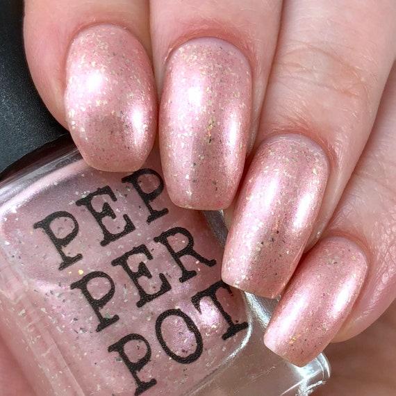 Soft Frosty Baby Pink Silver Flake Nail Polish Bath Beauty