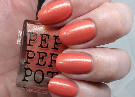 Pink Coral Nail Polish Gold Shimmer Nail Polish Indie Nail | Etsy