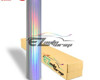 Silver Holographic Rainbow Neo Chrome Vinyl Car Wrap Sticker Decal Bubble Free Air Release Craft DIY Film