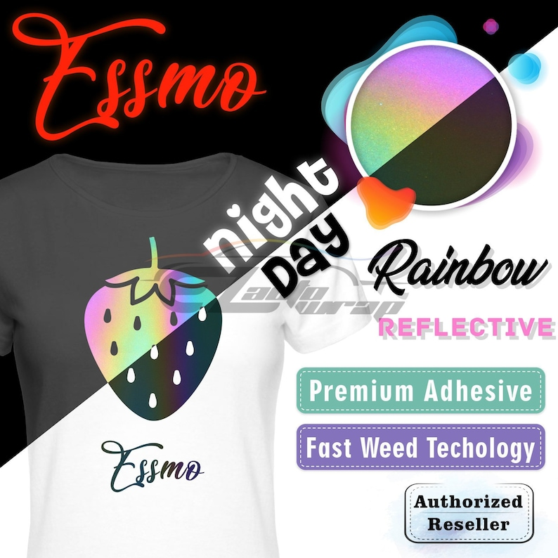 Reflective Rainbow//Gray Heat Transfer Vinyl HTV T-Shirt Roll Iron On//Heat Press