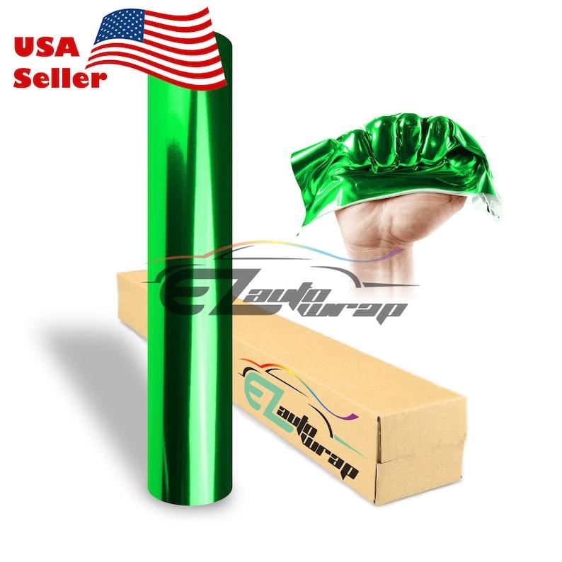 "*60/""x60/"" Supercast Easy Stretch Chrome Green Car Vinyl Wrap Bubble Free Sticker"