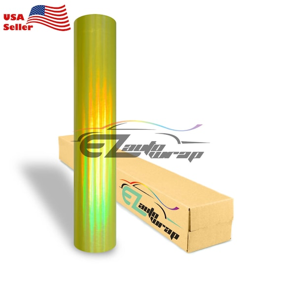 *Holographic Yellow Rainbow Neo Chrome Car Vinyl Wrap Bubble Free Sticker Film