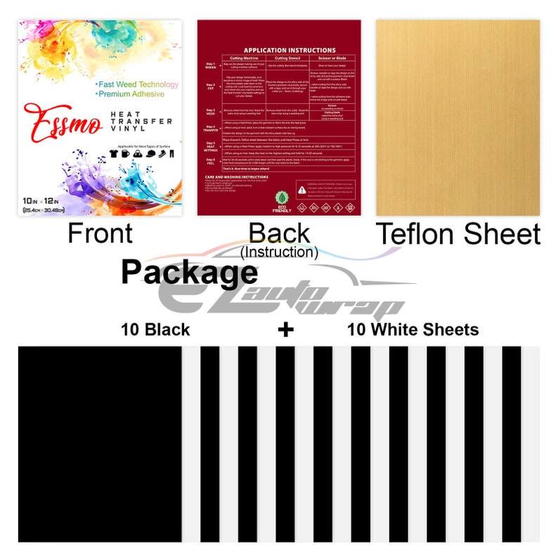 ESSMO\u2122 20Pcs Black White Heat Transfer Vinyl 12 x 10 Sheets T-Shirt HTV Iron On Heat Press Bundle Pack Set