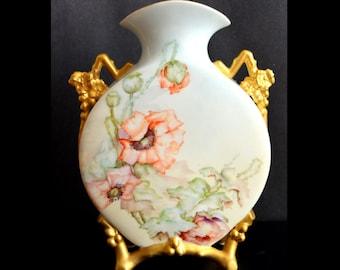 Antique LIMOGES French Porcelain Footed Moon Canteen VASE Martial Redon MR France Orange Poppy Decor