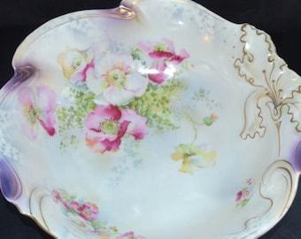 ANTIQUE German Porcelain HAIR Receiver Birds Flowers Johann Seltmann Scenic Decoration Pin Tray Vanity Jar 1900s Art Nouveau Decor