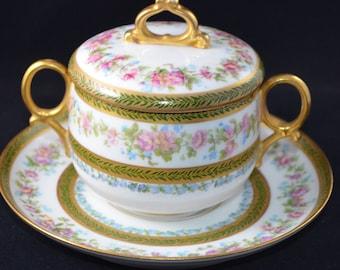 Antique LIMOGES French Porcelain Boullion Cup Saucer Set Hand Painted Roses